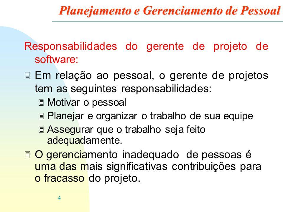 4 Planejamento e Gerenciamento de Pessoal Responsabilidades do gerente de projeto de software: 3 Em relação ao pessoal, o gerente de projetos tem as s