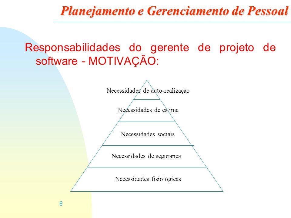 6 Planejamento e Gerenciamento de Pessoal Responsabilidades do gerente de projeto de software - MOTIVAÇÃO: Necessidades fisiológicas Necessidades de s