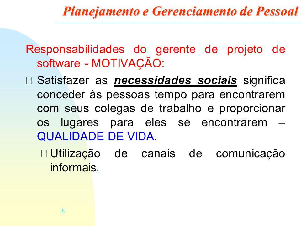 8 Planejamento e Gerenciamento de Pessoal Responsabilidades do gerente de projeto de software - MOTIVAÇÃO: 3 Satisfazer as necessidades sociais signif
