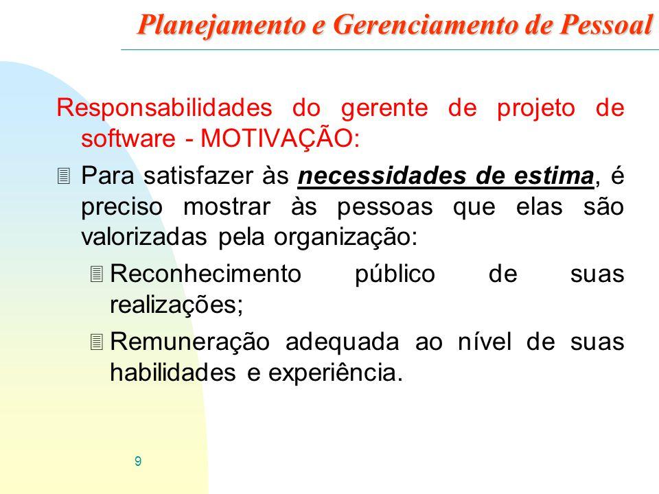 9 Planejamento e Gerenciamento de Pessoal Responsabilidades do gerente de projeto de software - MOTIVAÇÃO: 3 Para satisfazer às necessidades de estima