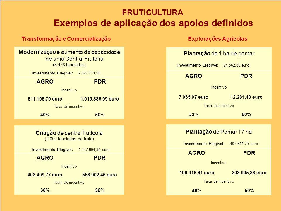 FRUTICULTURA Exemplos de aplicação dos apoios definidos Transformação e ComercializaçãoExplorações Agrícolas Modernização e aumento da capacidade de uma Central Fruteira (8 478 toneladas) Investimento Elegível:2.027.771,98 AGROPDR Incentivo 811.108,79 euro1.013.885,99 euro Taxa de incentivo 40%50% Criação de central frutícola (2 000 toneladas de fruta) Investimento Elegível:1.117.804,94 euro AGROPDR Incentivo 402.409,77 euro558.902,46 euro Taxa de incentivo 36%50% Plantação de Pomar 17 ha Investimento Elegível:407.811,75 euro AGROPDR Incentivo 199.318,61 euro203.905,88 euro Taxa de incentivo 48%50% Plantação de 1 ha de pomar Investimento Elegível:24 562,80 euro AGROPDR Incentivo 7.935,97 euro12.281,40 euro Taxa de incentivo 32%50%