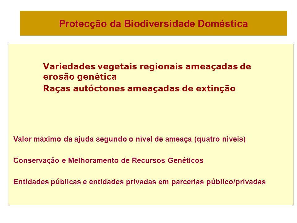 Protecção da Biodiversidade Doméstica Variedades vegetais regionais ameaçadas de erosão genética Raças autóctones ameaçadas de extinção Valor máximo da ajuda segundo o nível de ameaça (quatro níveis) Conservação e Melhoramento de Recursos Genéticos Entidades públicas e entidades privadas em parcerias público/privadas