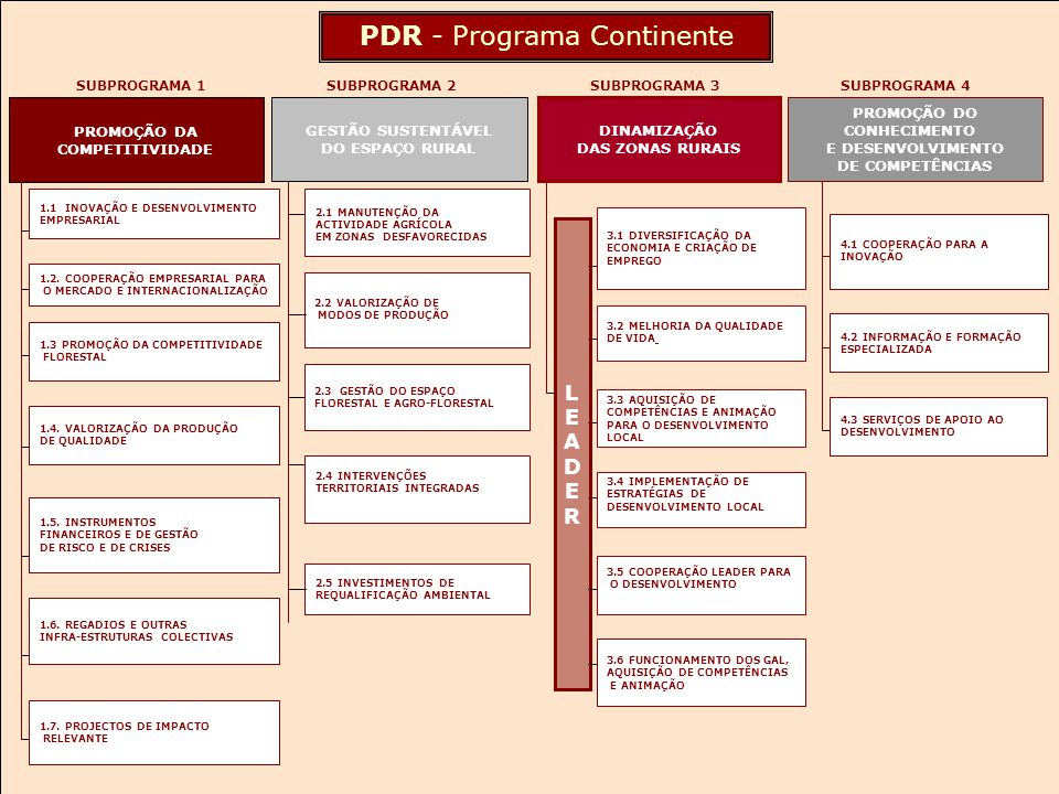 QCAIII PDR c Apoio a projectos individuais Apoios integrados de fileira Apoios à Florestação Obras de regadio Ordenamento florestal Desenvolvimento agrícola integrado Apoios directos Novos instrumentos de financiamento Sub-programa 1 Promoção da competitividade