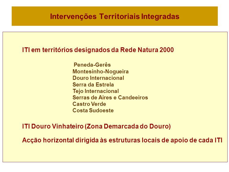 Intervenções Territoriais Integradas ITI em territórios designados da Rede Natura 2000 Peneda-Gerês Montesinho-Nogueira Douro Internacional Serra da Estrela Tejo Internacional Serras de Aires e Candeeiros Castro Verde Costa Sudoeste ITI Douro Vinhateiro (Zona Demarcada do Douro) Acção horizontal dirigida às estruturas locais de apoio de cada ITI