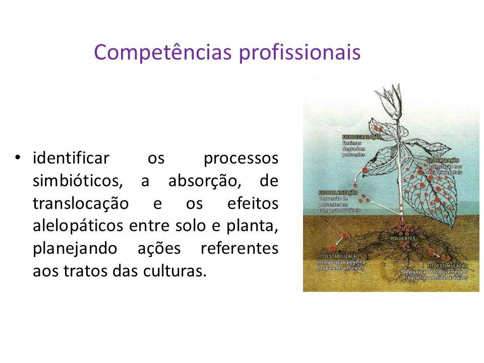 Competências profissionais identificar os processos simbióticos, a absorção, de translocação e os efeitos alelopáticos entre solo e planta, planejando ações referentes aos tratos das culturas.