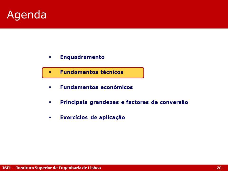 - 20 - ISEL – Instituto Superior de Engenharia de Lisboa Agenda  Enquadramento  Fundamentos técnicos  Fundamentos económicos  Principais grandezas e factores de conversão  Exercícios de aplicação