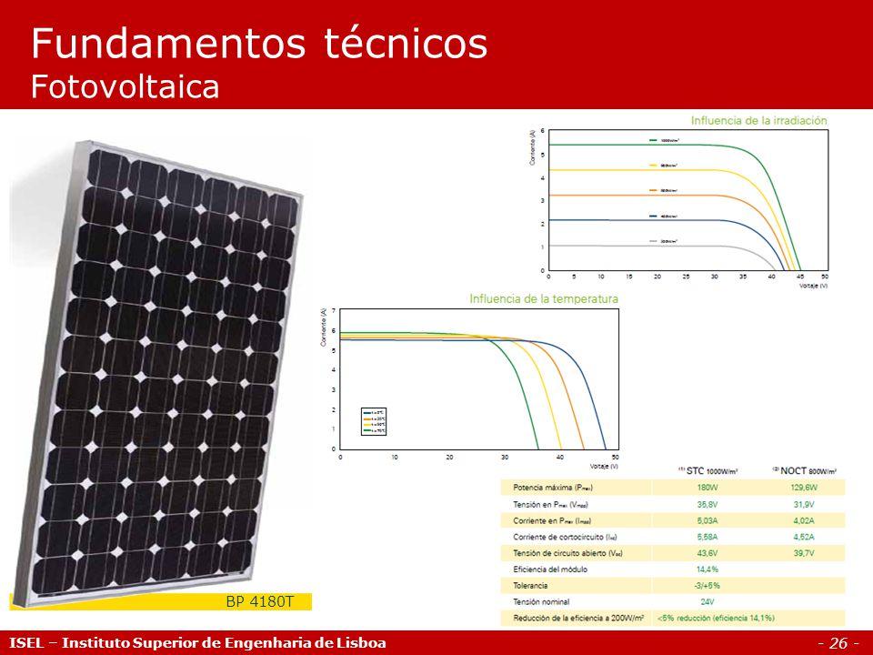 - 26 - ISEL – Instituto Superior de Engenharia de Lisboa Fundamentos técnicos Fotovoltaica BP 4180T