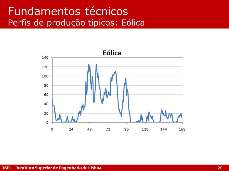 - 28 - ISEL – Instituto Superior de Engenharia de Lisboa Fundamentos técnicos Perfis de produção típicos: Eólica