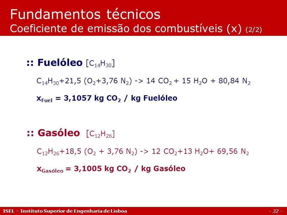 - 32 - ISEL – Instituto Superior de Engenharia de Lisboa :: Gasóleo [ C 12 H 26 ] C 12 H 26 +18,5 (O 2 + 3,76 N 2 ) -> 12 CO 2 +13 H 2 O+ 69,56 N 2 x Gasóleo = 3,1005 kg CO 2 / kg Gasóleo :: Fuelóleo [ C 14 H 30 ] C 14 H 30 +21,5 (O 2 +3,76 N 2 ) -> 14 CO 2 + 15 H 2 O + 80,84 N 2 x Fuel = 3,1057 kg CO 2 / kg Fuelóleo Fundamentos técnicos Coeficiente de emissão dos combustíveis (x) (2/2)