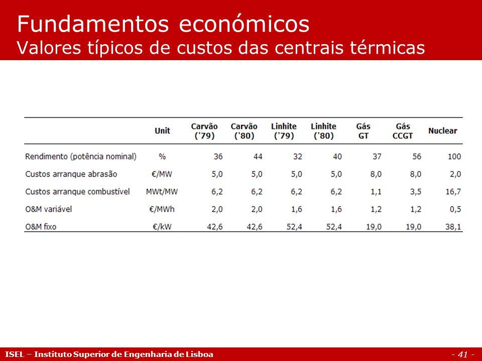 - 41 - ISEL – Instituto Superior de Engenharia de Lisboa Fundamentos económicos Valores típicos de custos das centrais térmicas