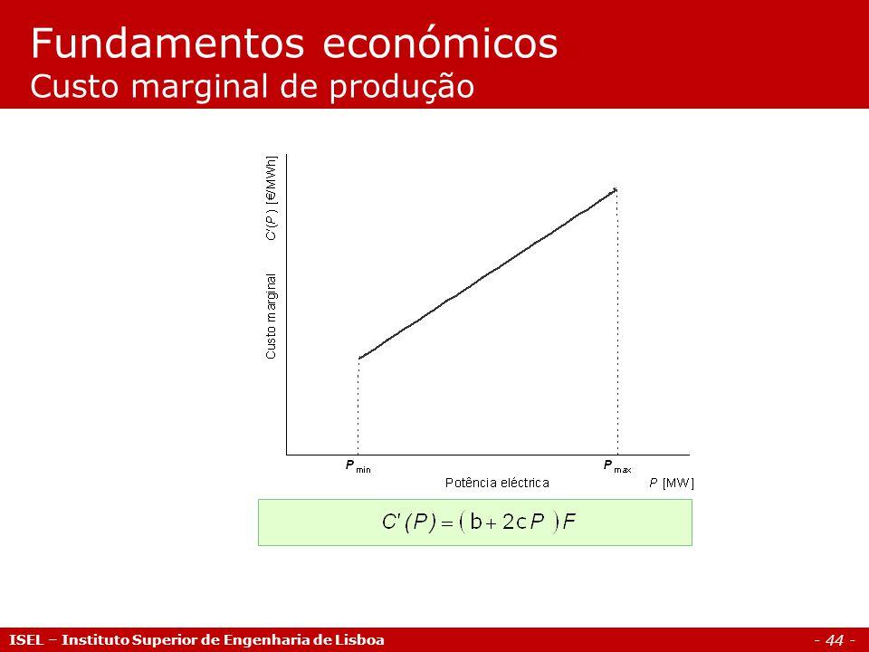 - 44 - ISEL – Instituto Superior de Engenharia de Lisboa Fundamentos económicos Custo marginal de produção