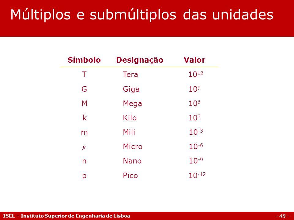 - 48 - ISEL – Instituto Superior de Engenharia de Lisboa Múltiplos e submúltiplos das unidades SímboloDesignaçãoValor T Tera 10 12 G Giga10 9 M Mega10 6 k Kilo10 3 m Mili 10 -3  Micro 10 -6 n Nano 10 -9 p Pico 10 -12