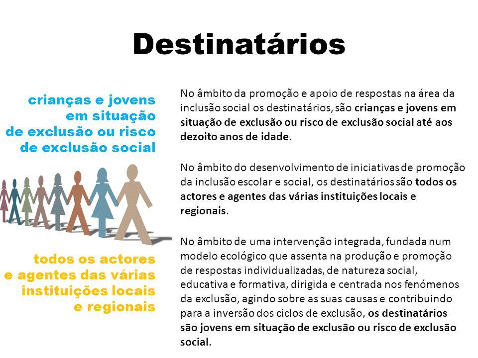 Destinatários No âmbito da promoção e apoio de respostas na área da inclusão social os destinatários, são crianças e jovens em situação de exclusão ou risco de exclusão social até aos dezoito anos de idade.