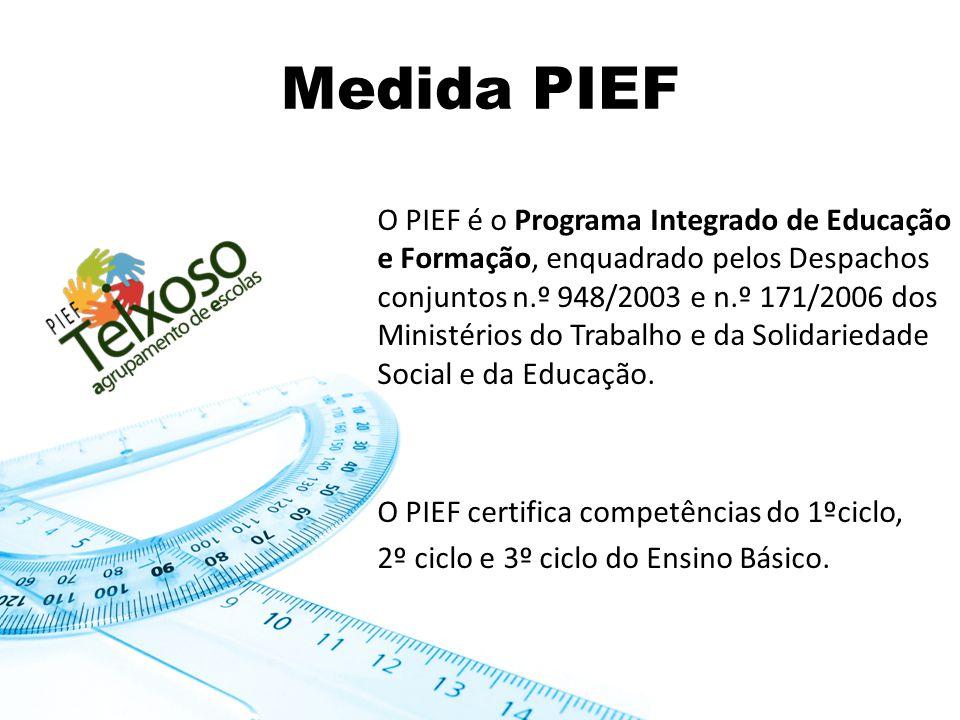 Medida PIEF O PIEF é o Programa Integrado de Educação e Formação, enquadrado pelos Despachos conjuntos n.º 948/2003 e n.º 171/2006 dos Ministérios do Trabalho e da Solidariedade Social e da Educação.