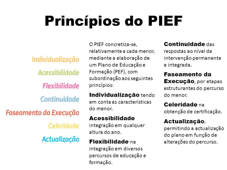 Princípios do PIEF O PIEF concretiza-se, relativamente a cada menor, mediante a elaboração de um Plano de Educação e Formação (PEF), com subordinação aos seguintes princípios: Individualização tendo em conta as características do menor.
