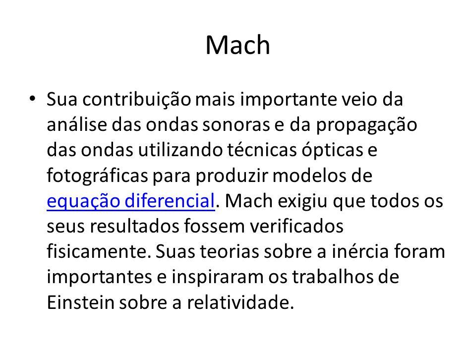 Mach Sua contribuição mais importante veio da análise das ondas sonoras e da propagação das ondas utilizando técnicas ópticas e fotográficas para prod