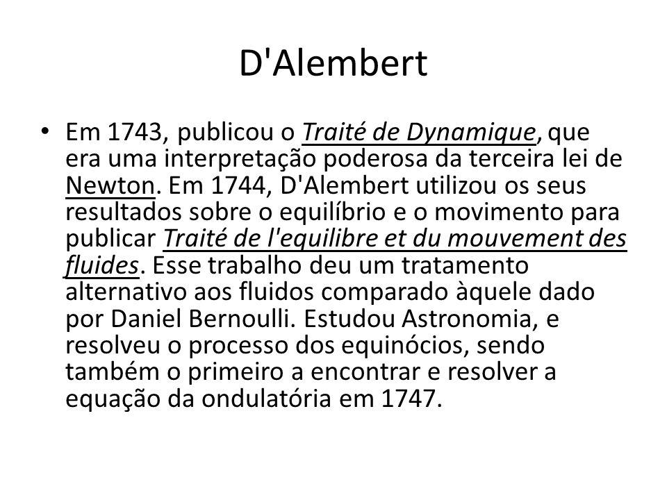 D'Alembert Em 1743, publicou o Traité de Dynamique, que era uma interpretação poderosa da terceira lei de Newton. Em 1744, D'Alembert utilizou os seus
