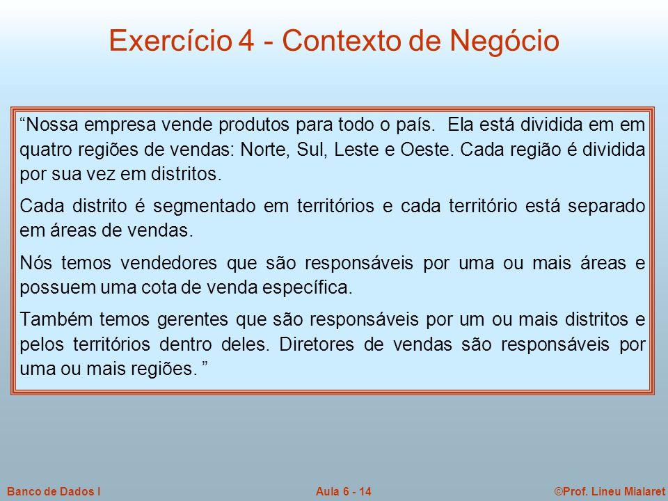 """©Prof. Lineu MialaretAula 6 - 14Banco de Dados I """"Nossa empresa vende produtos para todo o país. Ela está dividida em em quatro regiões de vendas: Nor"""