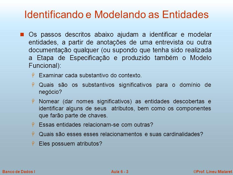©Prof. Lineu MialaretAula 6 - 3Banco de Dados I Identificando e Modelando as Entidades n Os passos descritos abaixo ajudam a identificar e modelar ent