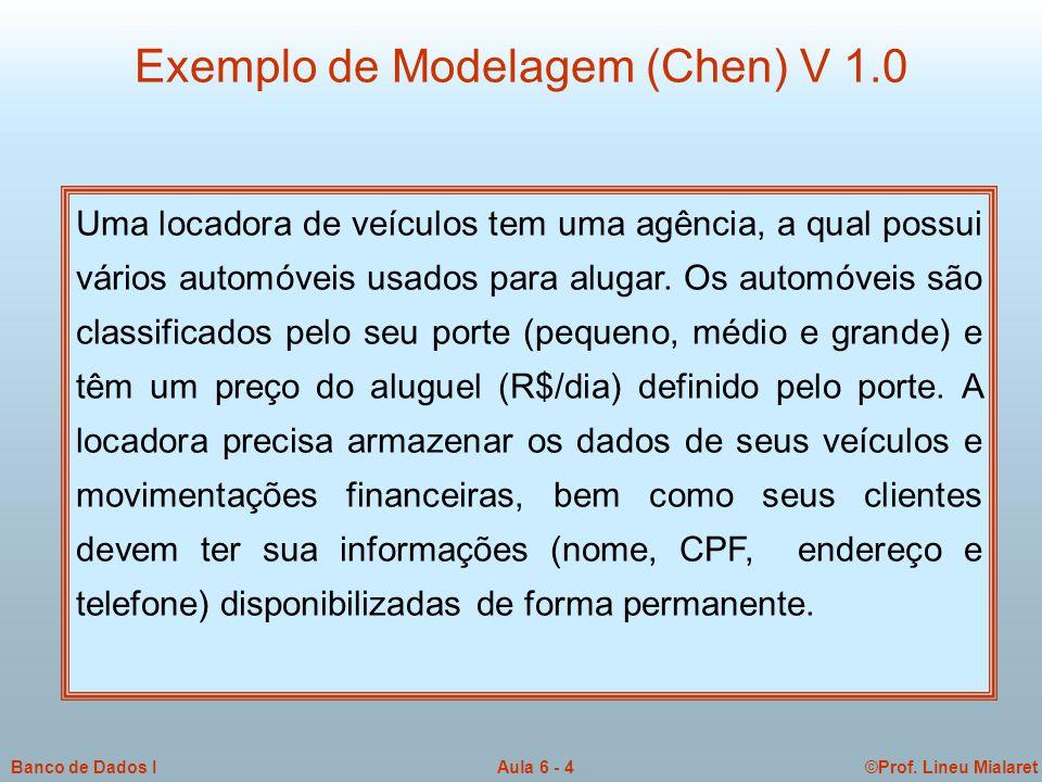 ©Prof. Lineu MialaretAula 6 - 4Banco de Dados I Exemplo de Modelagem (Chen) V 1.0 Uma locadora de veículos tem uma agência, a qual possui vários autom