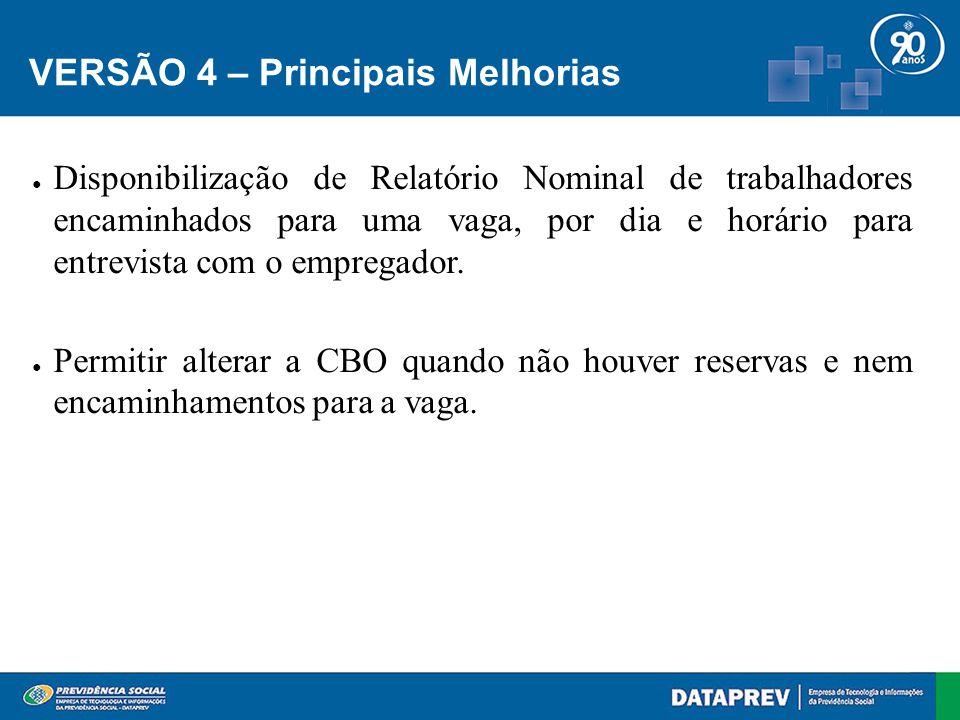 VERSÃO 4 – Principais Melhorias ● Disponibilização de Relatório Nominal de trabalhadores encaminhados para uma vaga, por dia e horário para entrevista com o empregador.