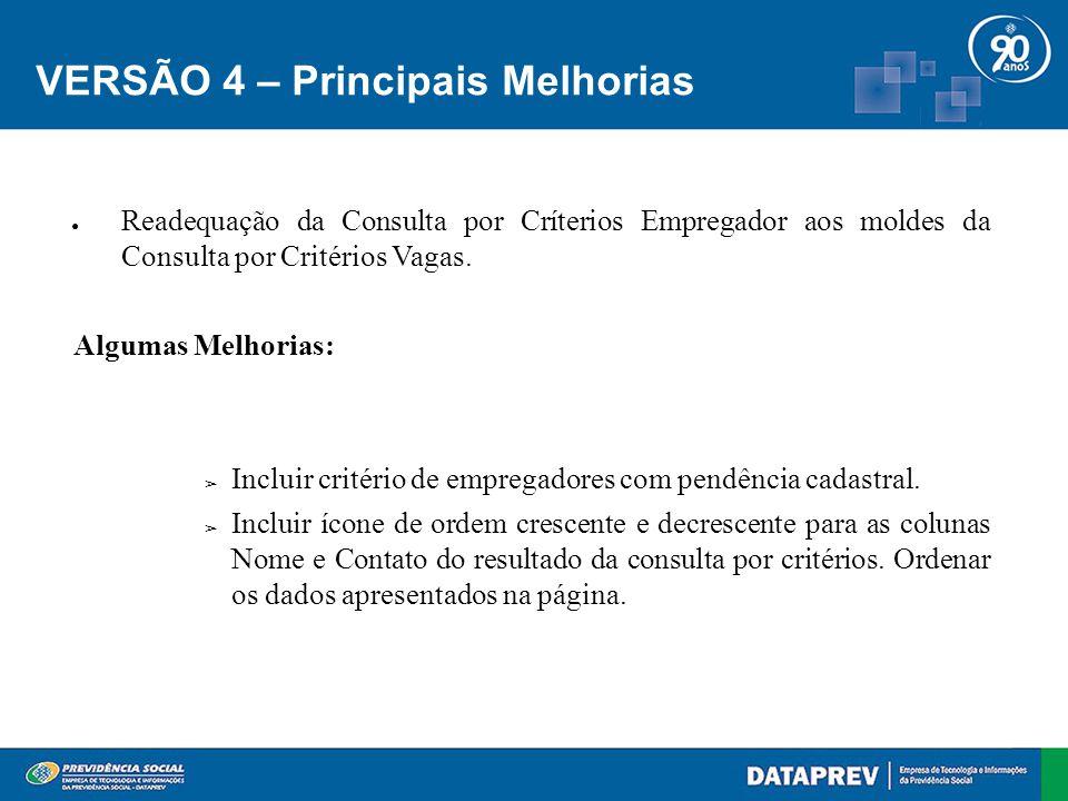 VERSÃO 4 – Principais Melhorias Consulta por Critério de Vagas ● Incluir ícone para ordenar resultado da consulta por critérios nas colunas Título da Ocupação e Nome de Fantasia .