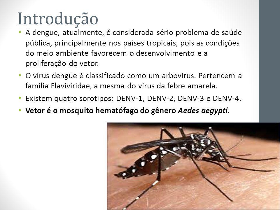 Introdução A dengue, atualmente, é considerada sério problema de saúde pública, principalmente nos países tropicais, pois as condições do meio ambient