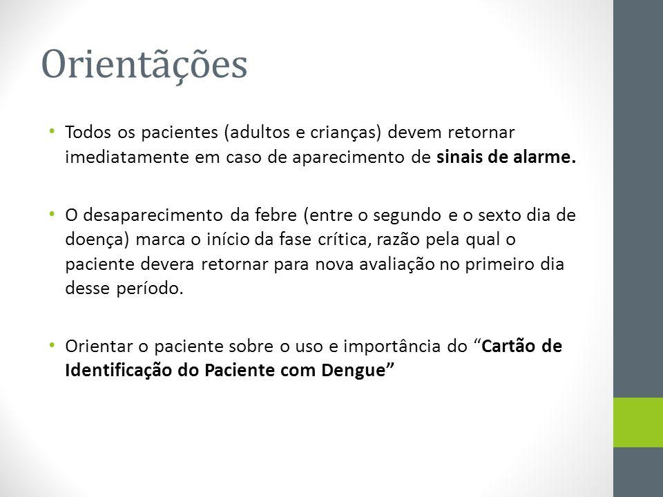 Orientãções Todos os pacientes (adultos e crianças) devem retornar imediatamente em caso de aparecimento de sinais de alarme. O desaparecimento da feb