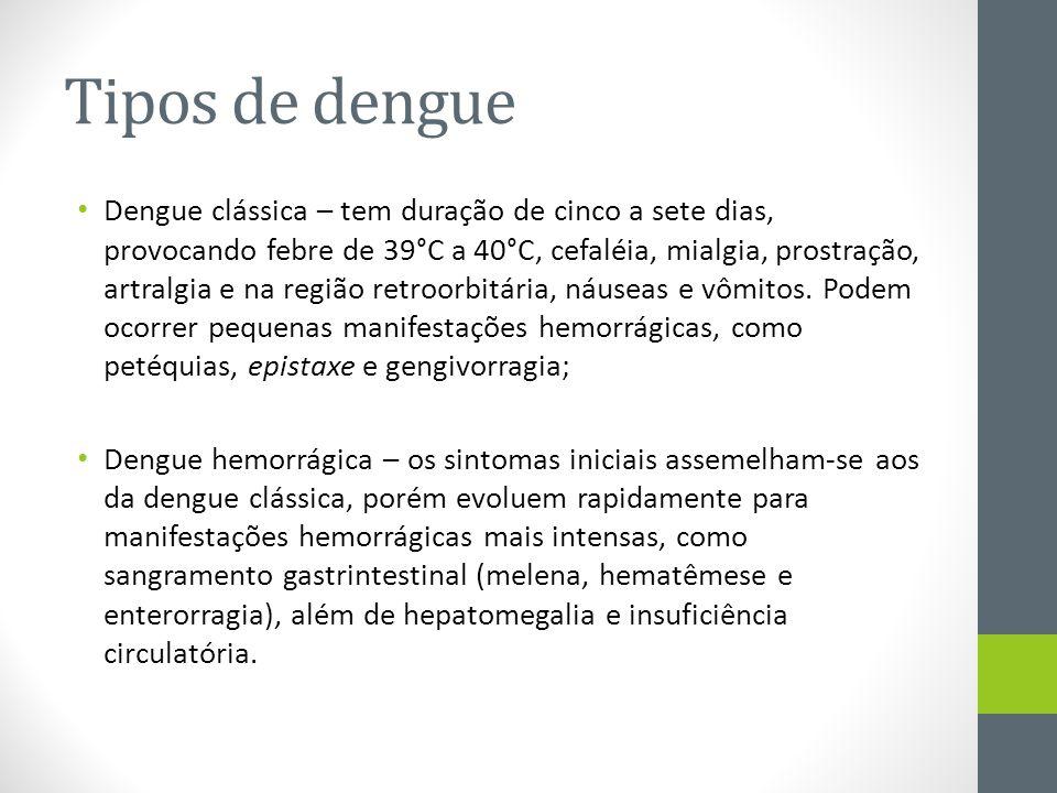 Tipos de dengue Dengue clássica – tem duração de cinco a sete dias, provocando febre de 39°C a 40°C, cefaléia, mialgia, prostração, artralgia e na reg