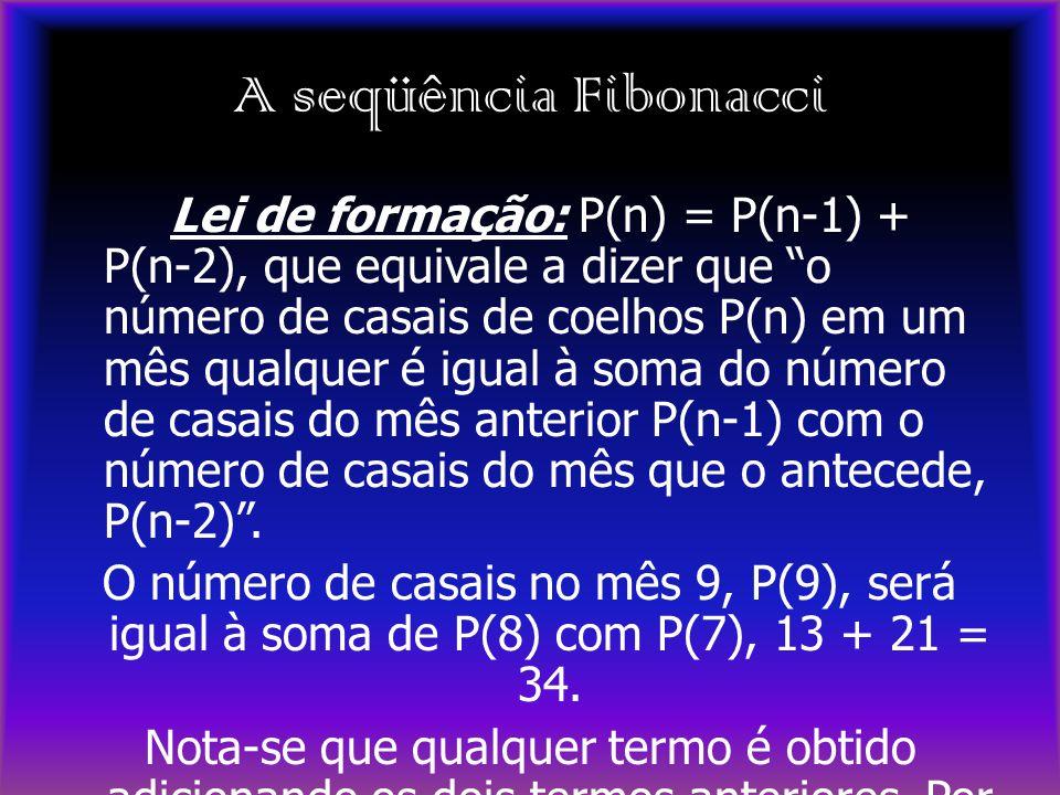 """A seqüência Fibonacci Lei de formação: P(n) = P(n-1) + P(n-2), que equivale a dizer que """"o número de casais de coelhos P(n) em um mês qualquer é igual"""