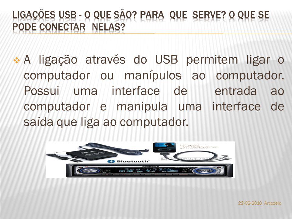  A ligação através do USB permitem ligar o computador ou manípulos ao computador. Possui uma interface de entrada ao computador e manipula uma interf