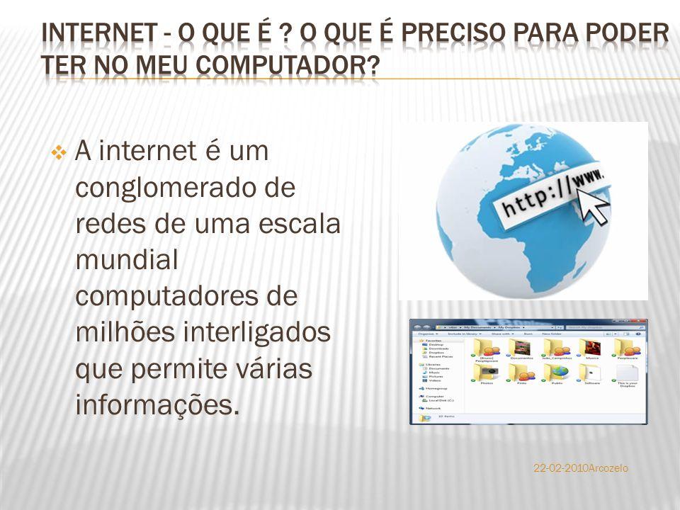  A internet é um conglomerado de redes de uma escala mundial computadores de milhões interligados que permite várias informações. 22-02-2010Arcozelo
