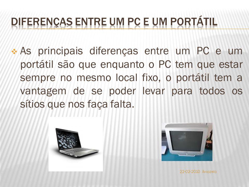  As principais diferenças entre um PC e um portátil são que enquanto o PC tem que estar sempre no mesmo local fixo, o portátil tem a vantagem de se poder levar para todos os sítios que nos faça falta.