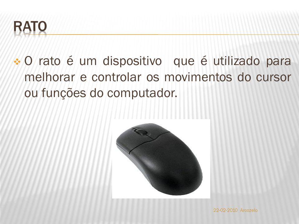  O rato é um dispositivo que é utilizado para melhorar e controlar os movimentos do cursor ou funções do computador.
