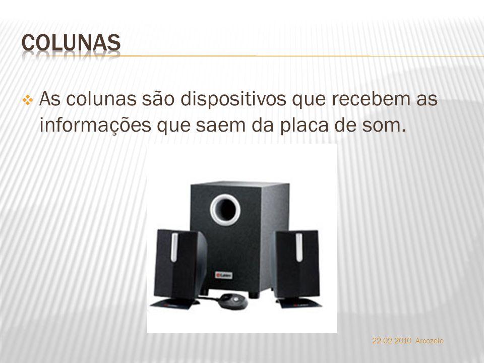  As colunas são dispositivos que recebem as informações que saem da placa de som. 22-02-2010 Arcozelo