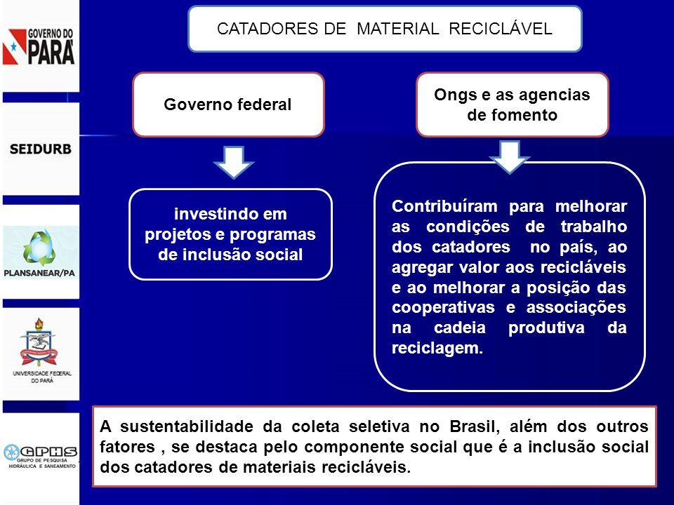 A sustentabilidade da coleta seletiva no Brasil, além dos outros fatores, se destaca pelo componente social que é a inclusão social dos catadores de materiais recicláveis.