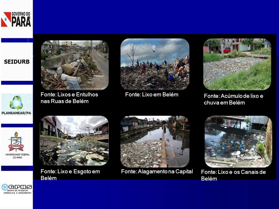 Fonte: Lixos e Entulhos nas Ruas de Belém Fonte: Acúmulo de lixo e chuva em Belém Fonte: Lixo em Belém Fonte: Lixo e os Canais de Belém Fonte: Lixo e Esgoto em Belém Fonte: Alagamento na Capital