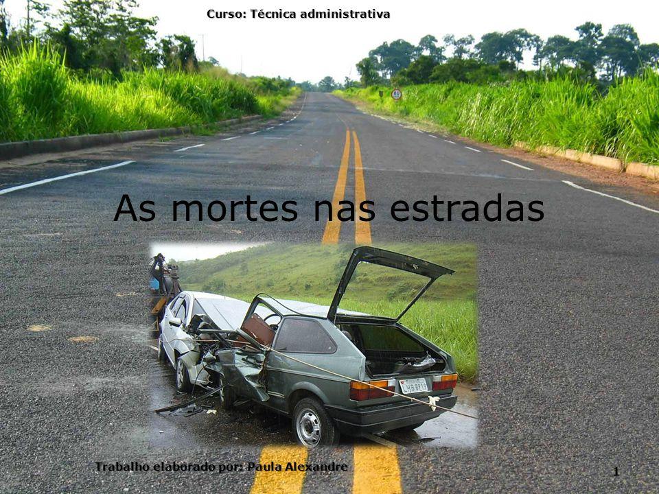 As mortes nas estradas Curso: Técnica administrativa 1 Trabalho elaborado por: Paula Alexandre