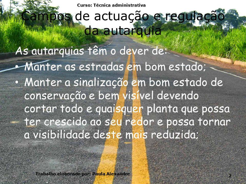 Campos de actuação e regulação da autarquia As autarquias têm o dever de: Manter as estradas em bom estado; Manter a sinalização em bom estado de cons