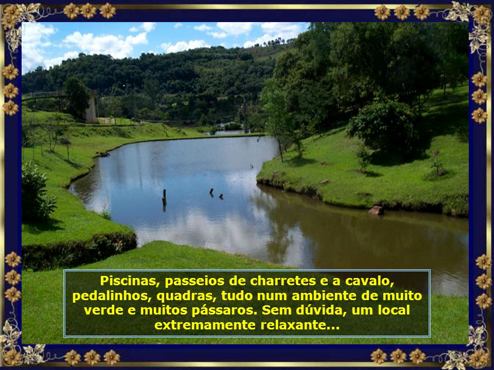 Seus chalés, cercados de muito verde, proporcionam uma linda vista panorâmica com lagos e o verde dos campos...