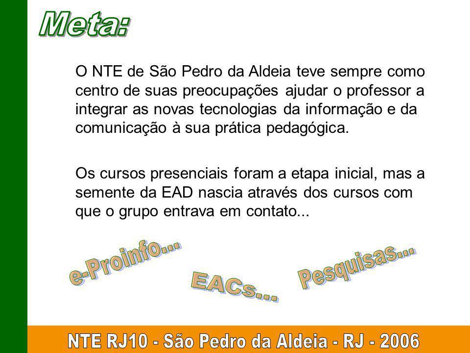 O NTE de São Pedro da Aldeia teve sempre como centro de suas preocupações ajudar o professor a integrar as novas tecnologias da informação e da comunicação à sua prática pedagógica.