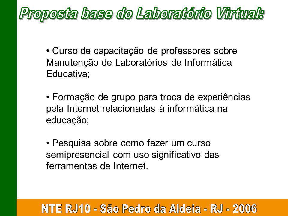 Curso de capacitação de professores sobre Manutenção de Laboratórios de Informática Educativa; Formação de grupo para troca de experiências pela Inter