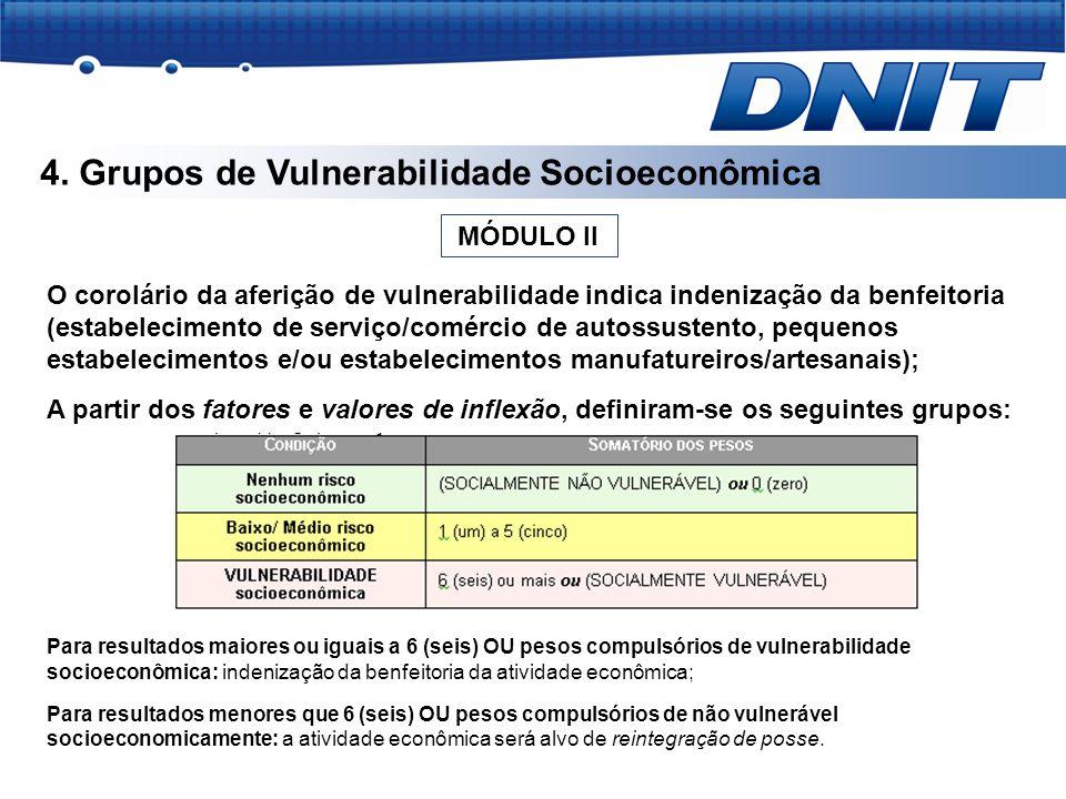 4. Grupos de Vulnerabilidade Socioeconômica O corolário da aferição de vulnerabilidade indica indenização da benfeitoria (estabelecimento de serviço/c