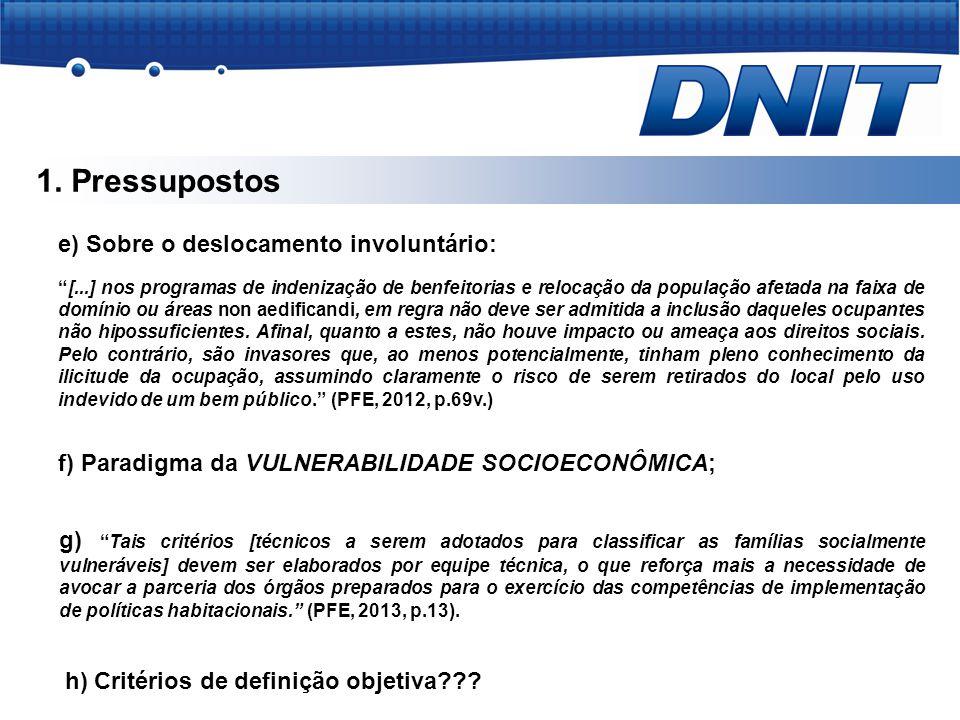 """1. Pressupostos e) Sobre o deslocamento involuntário: """"[...] nos programas de indenização de benfeitorias e relocação da população afetada na faixa de"""