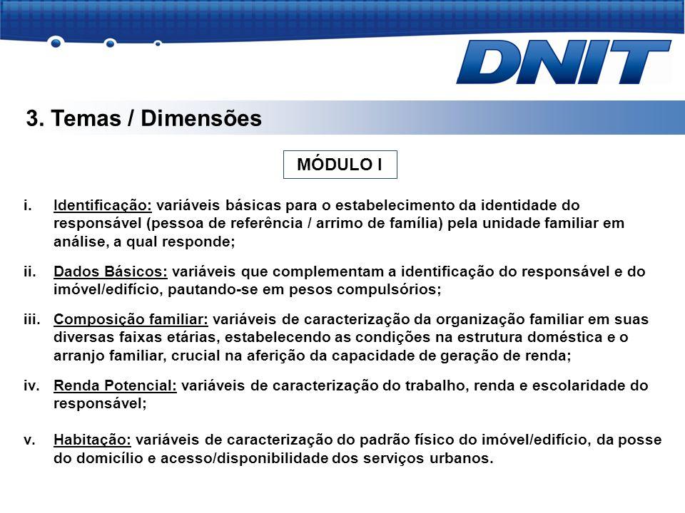 3. Temas / Dimensões i.Identificação: variáveis básicas para o estabelecimento da identidade do responsável (pessoa de referência / arrimo de família)