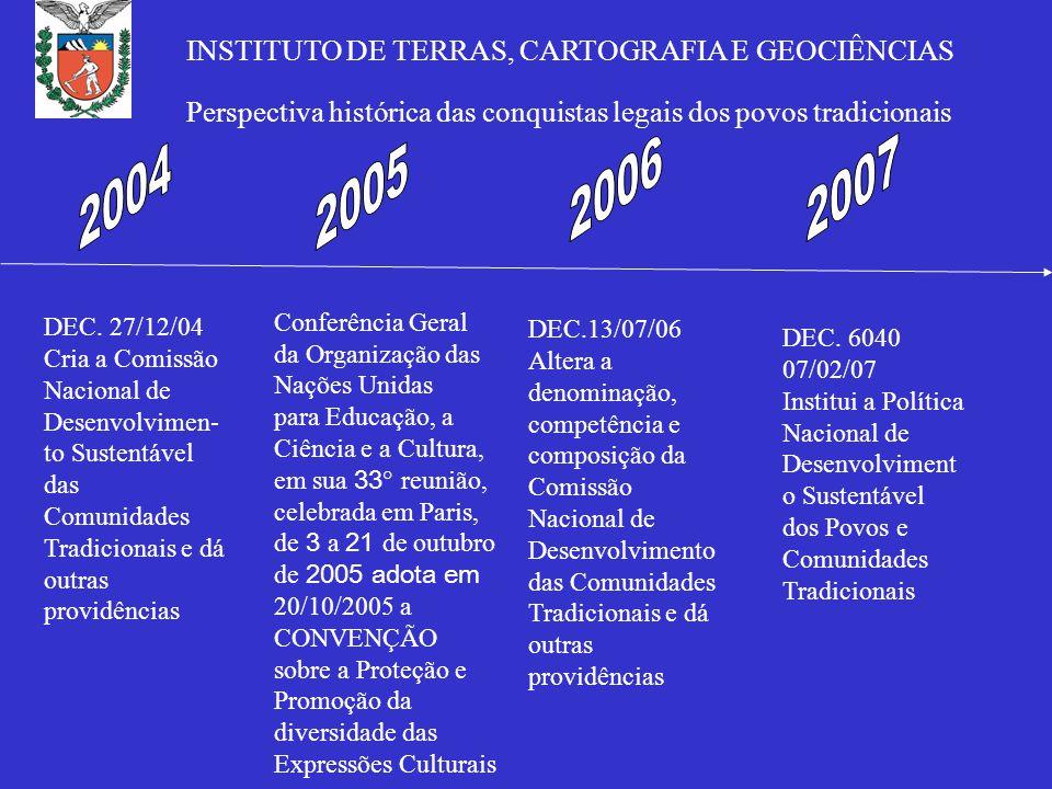 Conferência Geral da Organização das Nações Unidas para Educação, a Ciência e a Cultura, em sua 33 ° reunião, celebrada em Paris, de 3 a 21 de outubro de 2005 adota em 20/10/2005 a CONVENÇÃO sobre a Proteção e Promoção da diversidade das Expressões Culturais DEC.
