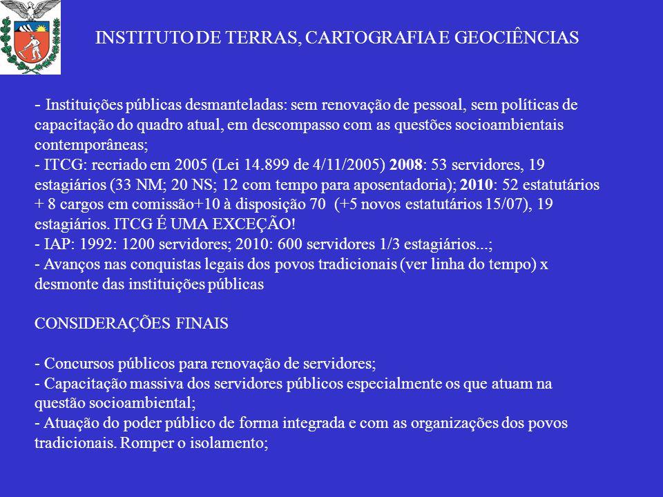 - Instituições públicas desmanteladas: sem renovação de pessoal, sem políticas de capacitação do quadro atual, em descompasso com as questões socioambientais contemporâneas; - ITCG: recriado em 2005 (Lei 14.899 de 4/11/2005) 2008: 53 servidores, 19 estagiários (33 NM; 20 NS; 12 com tempo para aposentadoria); 2010: 52 estatutários + 8 cargos em comissão+10 à disposição 70 (+5 novos estatutários 15/07), 19 estagiários.