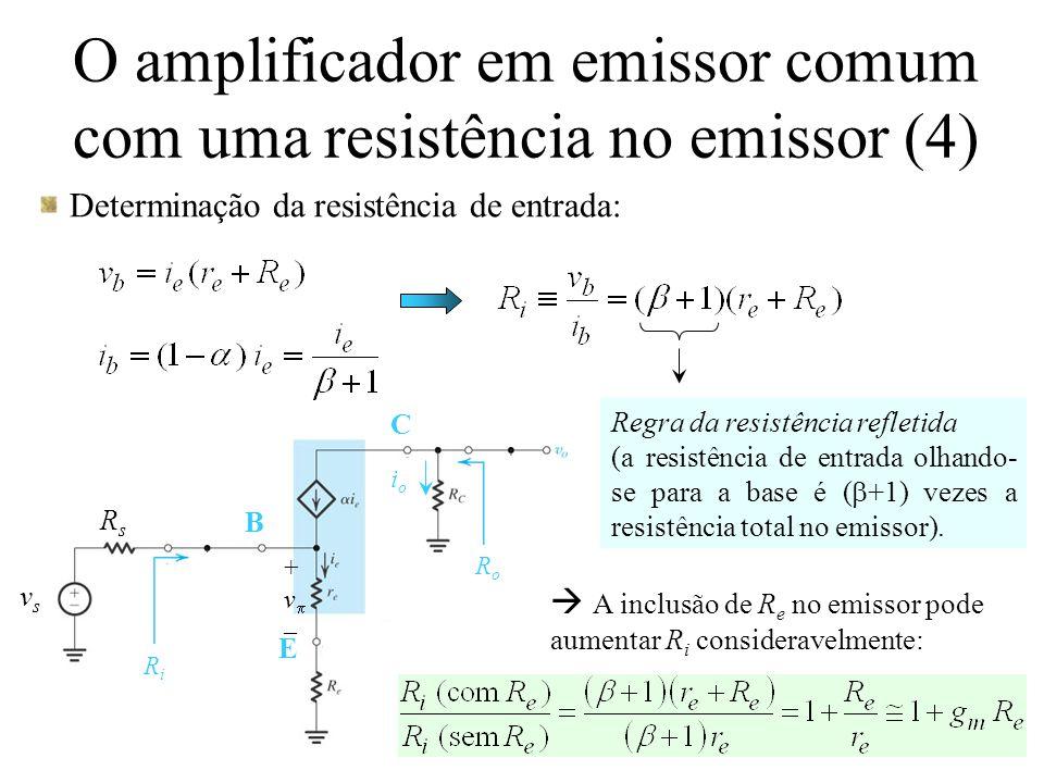 O amplificador em emissor comum com uma resistência no emissor (5) Determinação do ganho de tensão:  O projetista de circuitos pode escolher o valor de R e que fornece o valor desejado de resistência de entrada para o amplificador.