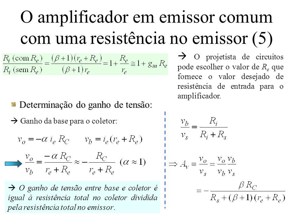 O amplificador em emissor comum com uma resistência no emissor (6)  O ganho é menor que aquele para o amplificador EC devido ao termo adicional (  +1) R e no denominador.
