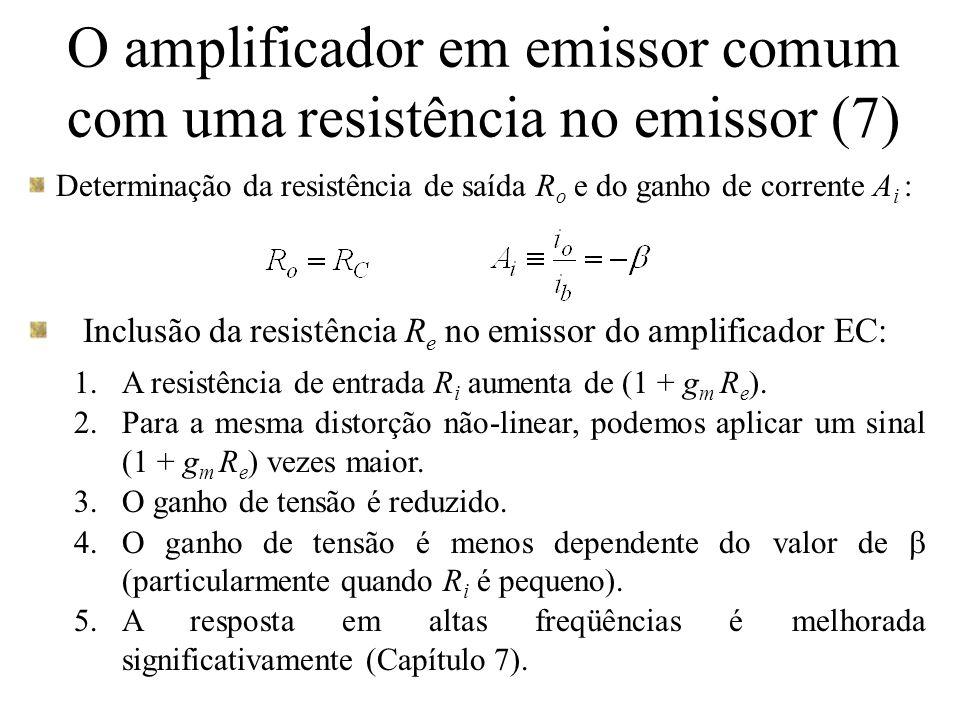 O amplificador em base comum BC: a base é aterrada, a fonte de sinal é acoplada ao emissor através de um capacitor C C de valor elevado e o sinal de saída é obtido no coletor (para a análise a seguir, desconsidere a resistência de carga R L ).